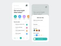 iDeaz App illustration onboarding search swipe ideas management app share ideas app idea uidesign mobile app creative colors concept mobile ui ux ui figma product design mobile