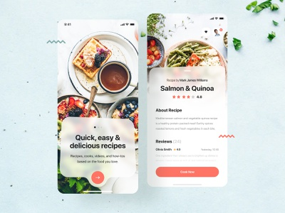 Food Recipes Application - Background Blur mobile minimal colors mobile design restaurant trending dish figma concept recipes recipe app food creative background blur blur ui design product design app mobile app