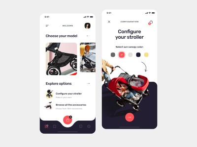 Find your Stroller Application design find kid babygirl mobile ui app design search figma ux ui app concept creative accesories configure baby stroller product design mobile app mobile