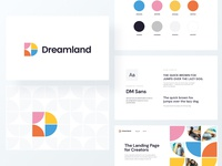 Dreamland Branding landing page creators styleguide creative design branding and identity logo design ux ui brand branding design letter typogaphy logo guidelines colors font branding