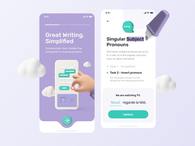 Improve your Writing - Mobile App writing pronouns concept mobile ui product design app creative ux ui application illustration 3d french task onboarding learn grammar app design mobile app mobile