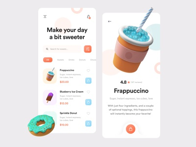 Sweetooth App - UI Design craving sweet tooth concept frappuccino donut 3d illustration app ui design creative product design mobile ui app design mobile app design mobile drink sweet