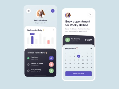 Pet Care - App Design schedule activity walk grooming reminder app reminders appointment mobile app concept dog care pet care pet ux design ui