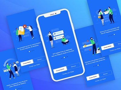 Onboarding Screens steps branding interface illustrator crypto wallet ux ui design onboarding screens app