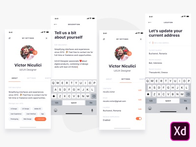 User Profile adobe xd application ui freebie adobexd free download iphone x design ui ux user profile concept mobile minimal app clean creative ux design ui