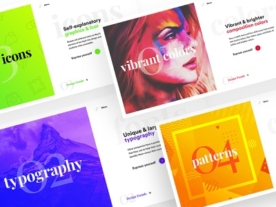Vibrant Hero Headers set adobe xd photoshop colors design concept above the fold slider landing page header