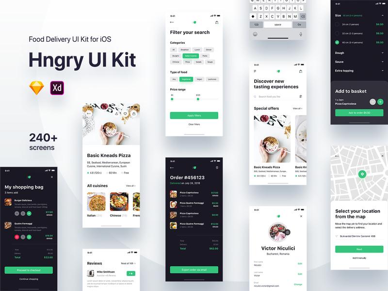 Hngry UI Kit - Food Delivery UI Kit Update sketch adobe xd app designers app design user center design food app concept food app delivery app ui ui-ux ui kit user interface app screens screens uidesign