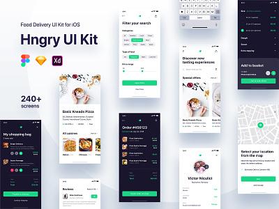 Hngry Food Delivery UI Kit - Figma / Sketch / Adobe XD clean app screen design kit app ui user interface adobe xd sketch figma ux ui mobile app ui-ux app delivery food app ui kit app design app concept