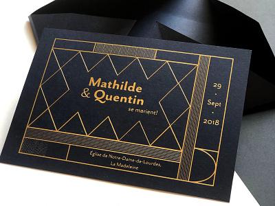 Wedding Invitation gold type illustration wedding card print design wedding