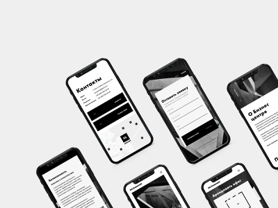 Mobile website Version for Business center minimal clean modern rent monochrome black and white design ui architecture property business version website mobile