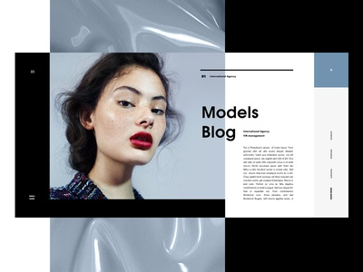 Models Blog minimal fashion promo website web blue blog ux ui overlay pop-up