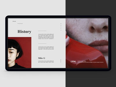 Page history website web history page interface fashion minimalist red ux ui