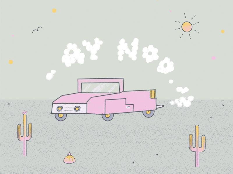 ¡Contaminación nooo! rosa humo sun cute cactus letters pink desert car