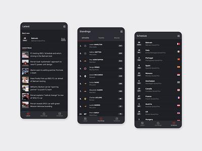 Pitlane Formula 1 app app design dark theme dark mode dark android adobe xd application app mobile minimal flat design flat interface ui design racing motorsport f1 formula 1 formula1 formula one