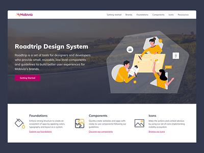 Landing page of Roadtrip Design System design system