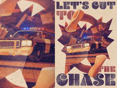 Let's Cut To The Chase — Illustration 🪓 typography hand drawn retro colour palette chase brush stipple poster vintage texture noise character illustration