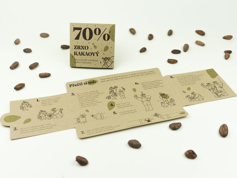 Zrno Kakaový — Matura project (part 05) 🍫 idea print design print composition illustration dark naturefriendly cocoa mockup series project final wrap chocolate packaging recyclable reusable eco