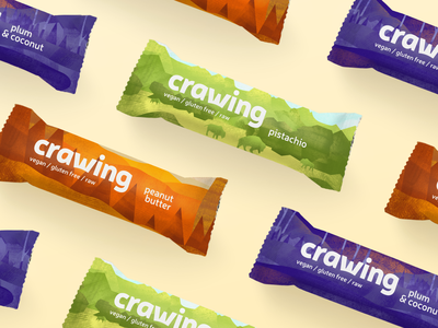 Crawing — Raw Snack Bars 🏕️ print mockup poster packaging product raw bar snack hiking hike design idea brand visual identity icon corporate texture logotype logo