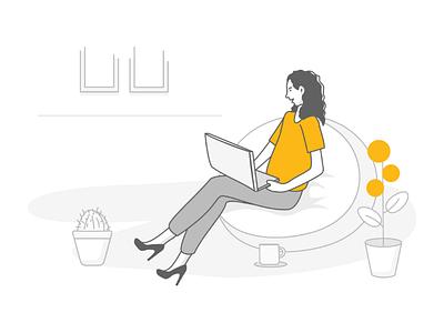 Working hard bean bag office design insurance godigit illustration illustrator