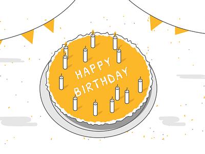 Happy Birthday! godigit insurance design wishes card candles celebration gifts illustration cake birthday