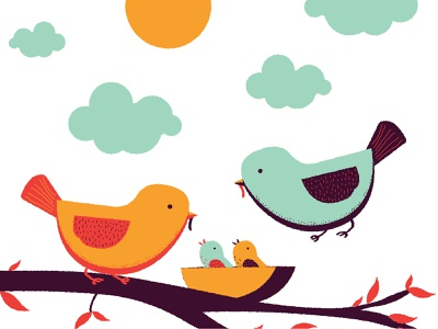 Bird Family nature vintage family nest tree bird cute design illustration