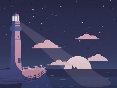 Lighthouse by the Sea starry night stars clouds moon ocean life night dark sea lighthouse design illustration