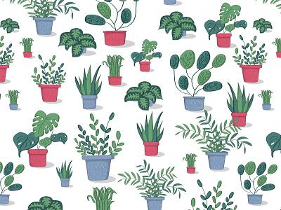 Potted Plants Pattern art nature vector botanical design illustration