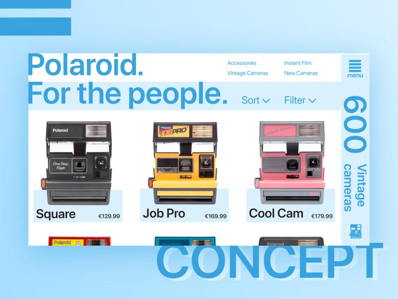 Polaroid monochrome concept accent website clean contrast ux-ui redesign monochrome camera polaroid shop online store concept blue flat color adobexd minimal web ui design