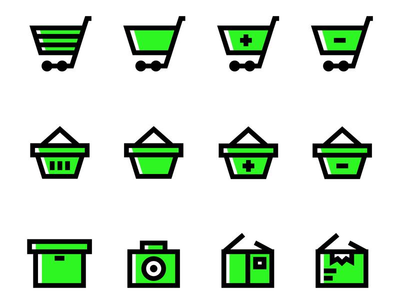 E-Commerce Icons thin stroke sharp minimal line illustrator icon green e-commerce bold appropriate app