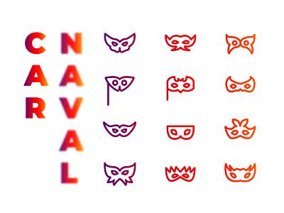 Carnaval Masks dailyui vector adobeillustrator ui illustration minimal adobe graphic ux daily work art artwork design mask set icon carnaval behance dribbble