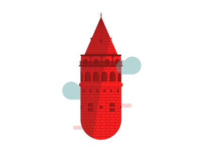 Galata Tower adobe tower work daily artwork art minimal graphic ui design vector istanbul illustration galata city build