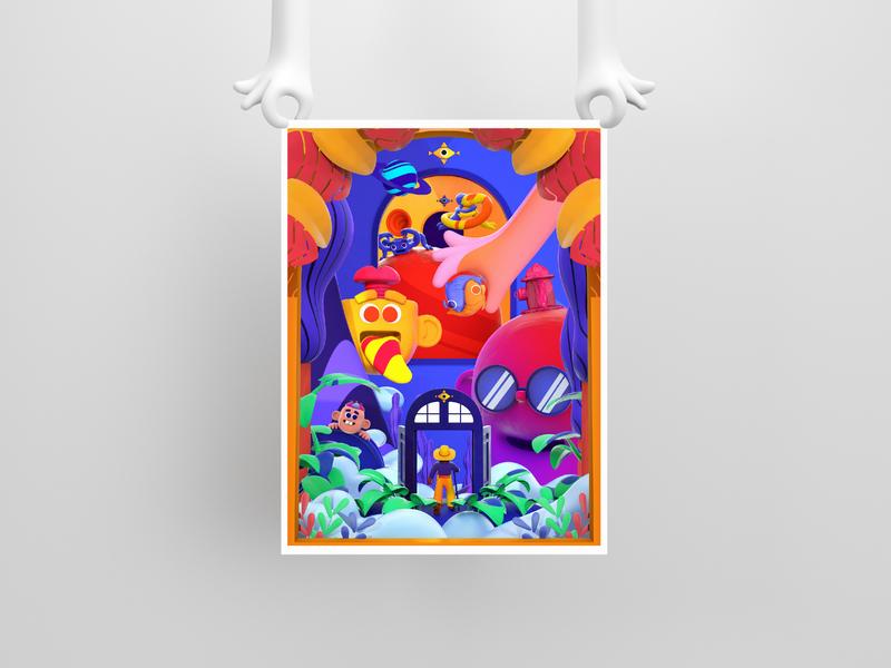 $$$ PREVENTA CARTEL $$$ monster model design color character c4d illustration 3d venta ilustración cartel