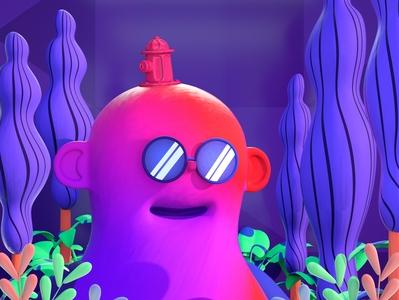fantasy world trees plants hidrant glasses gif design color character 3d c4d illustration