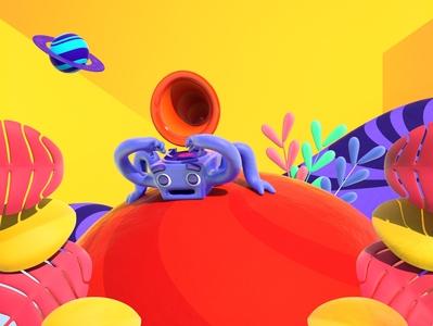 Universal Sounds alien music plants colors univers planet color character c4d illustration 3d