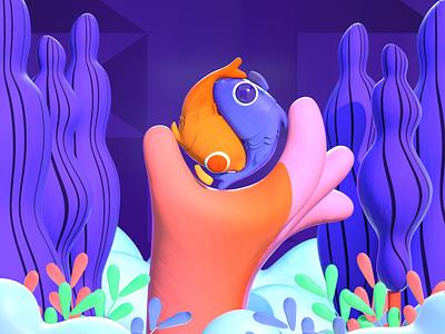 Ying Yang fish cloud plants hand gif design color character c4d illustration 3d