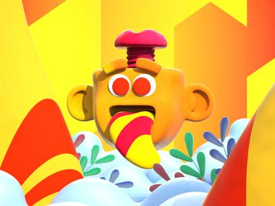Screwed Screw design color character c4d illustration 3d clouds plants yellow tongue crazy screw