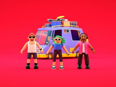 Rocking the Van car illustration 3d green glasses musicians moustache van microphone musician character