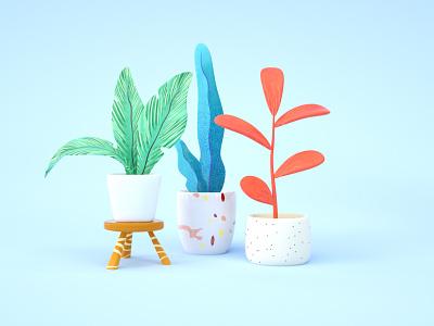 Smiling plants color c4d illustration 3d colors leaf texture plants