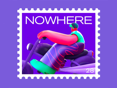 Stamp to nowhere postcard stamp color pants texture human character motorcycle