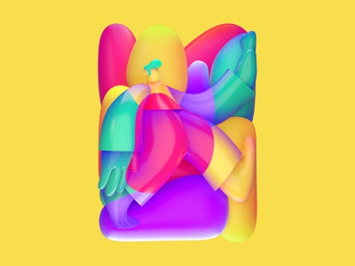Merging 3d c4d illustration character design square big hand proportion shadow colors character