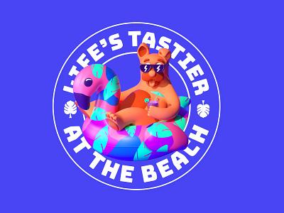 Beach Sticker gif design color character c4d illustration 3d flamingo cocktail floatie beach dog sticker