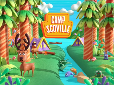 Camp Scoville! fish spicy crazy fire deer forest animals forest plants color c4d character illustration 3d