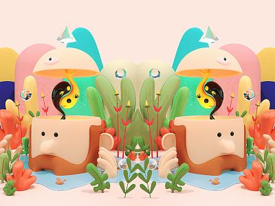 Outbreak simple plants outbreak c4d color character illustration 3d