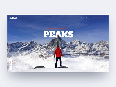 Hiking website concept interface motion travel mountains scroll parallax animation ui webdesign
