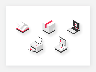Isometric icons brand ui web simple dtp print icons illustration isometric