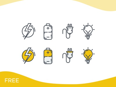 Electricity Icon Set - Freebie