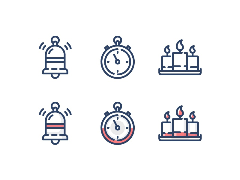 Spot Icons notification candle timer cash coin merit outline reminder stroke 2d illustration line icon