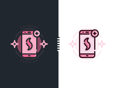 """Create A New Spell"" Illustration dark line filled monochrome colored outline spellbook spell phone illustration"