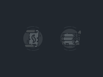 Empty State Illustrations black dark outline line 2d ios icon illustration spellbook spell empty state