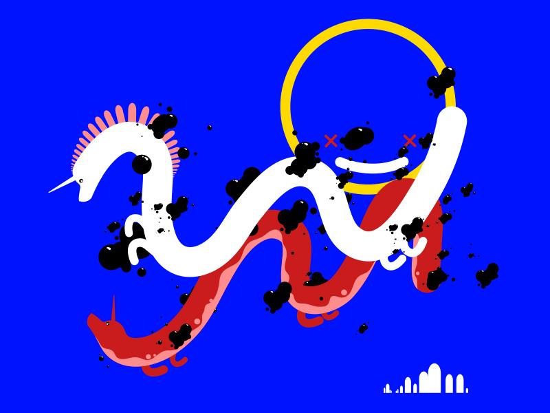 Two Dragons magic animal pollution digital dragon illustration graphic vector flat character